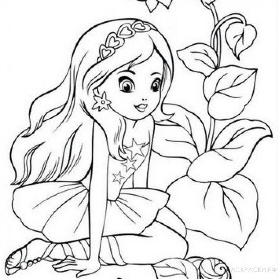 Раскраска девочка сидит в кустах » Раскраски.рф ...