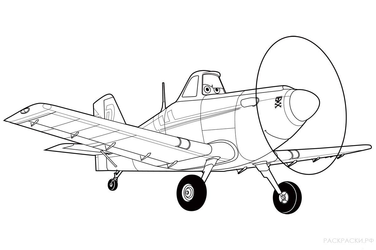 Мультик раскраски самолет