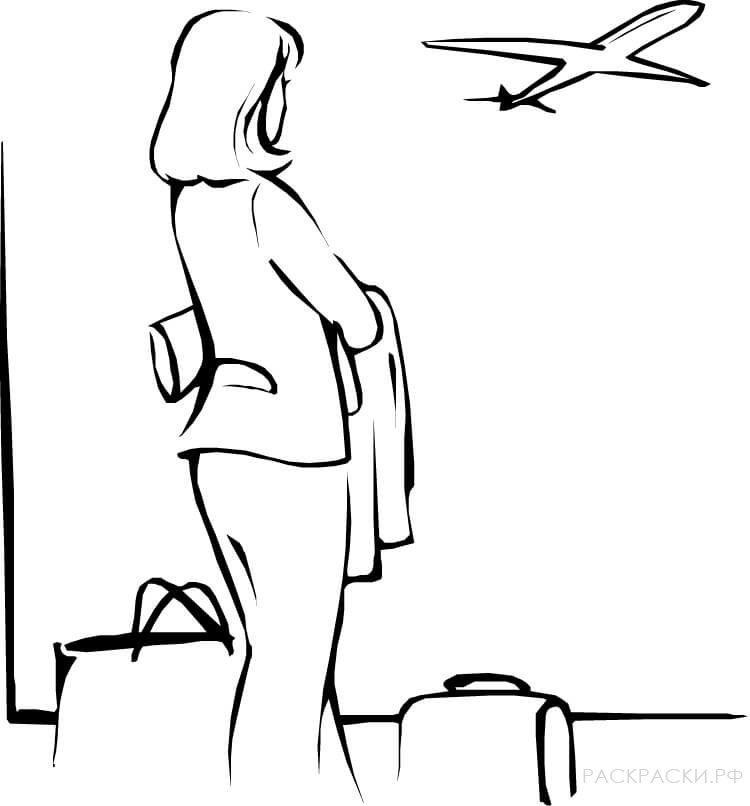 Раскраска Для девочек Женщина в аэропорту
