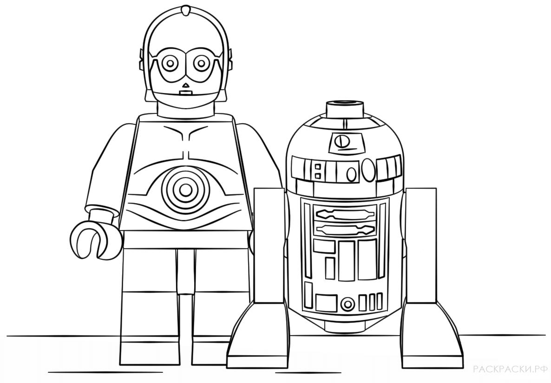 Раскраска Дроиды C3PO и R2D2 из Лего Звёздные войны