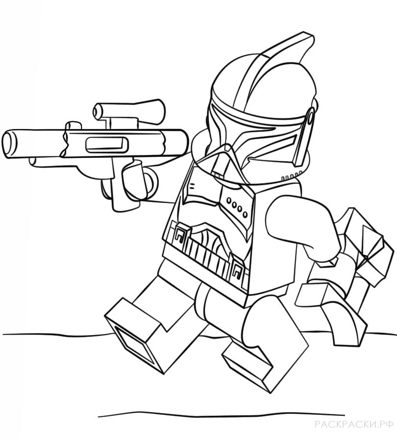 Раскраска Солдат-клон из Лего Звёздные войны
