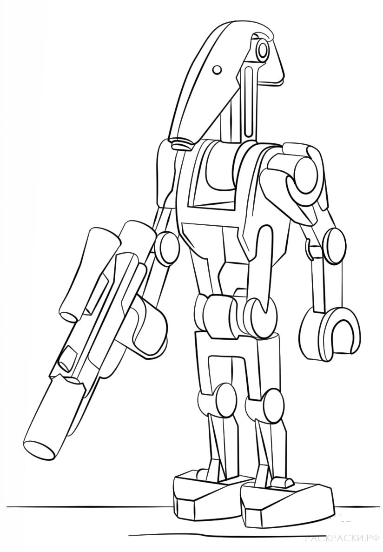 Раскраска Боевой дроид из Лего Звёздные войны