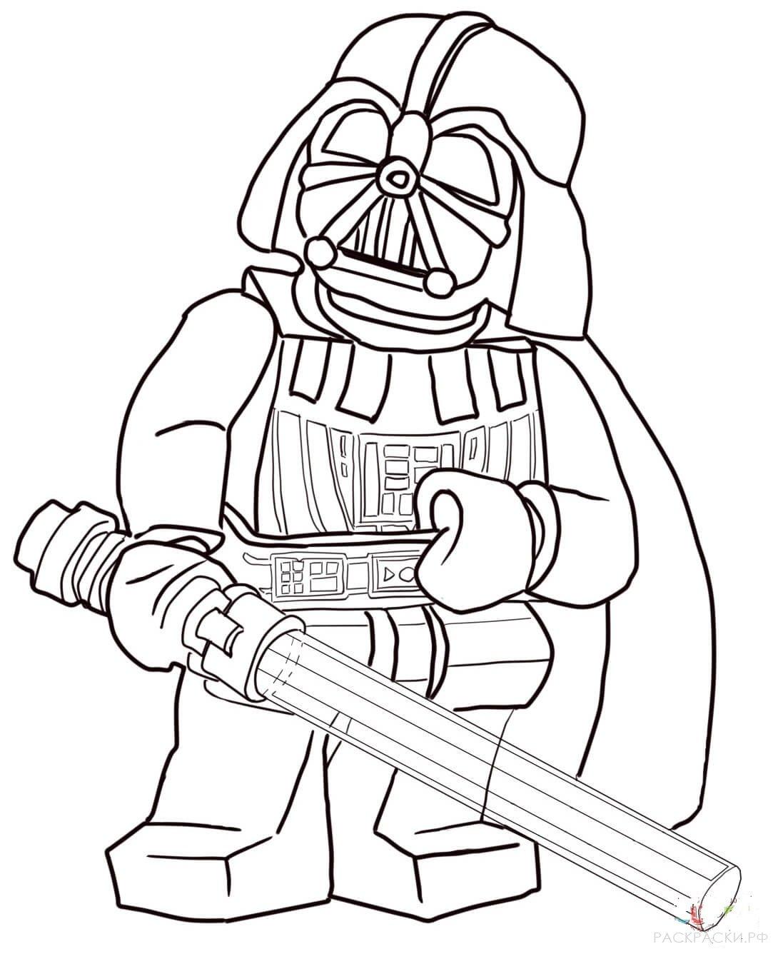 Раскраска Дарт Вейдер из Лего Звёздные войны