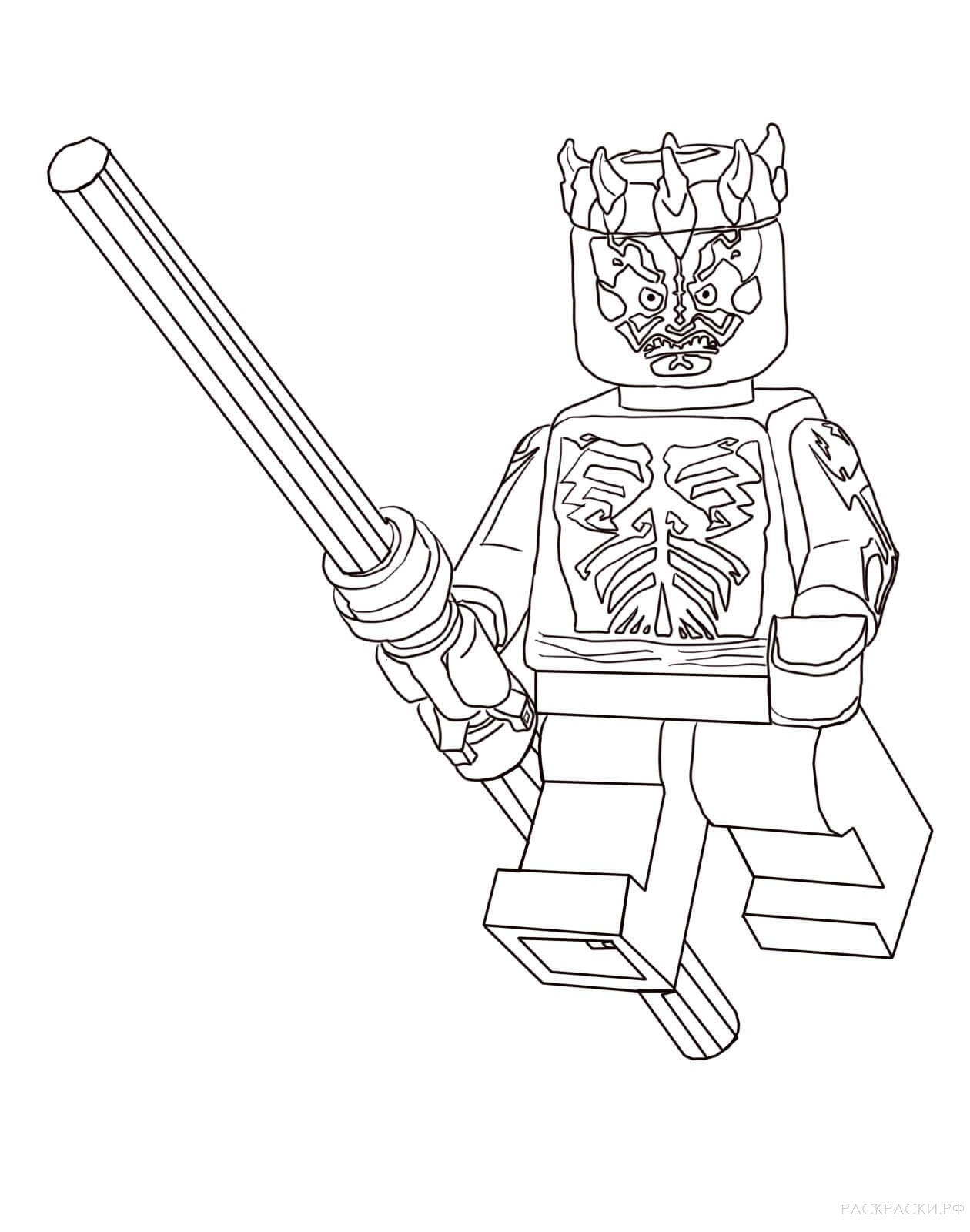 Раскраска Дарт Мол из Лего Звёздные войны
