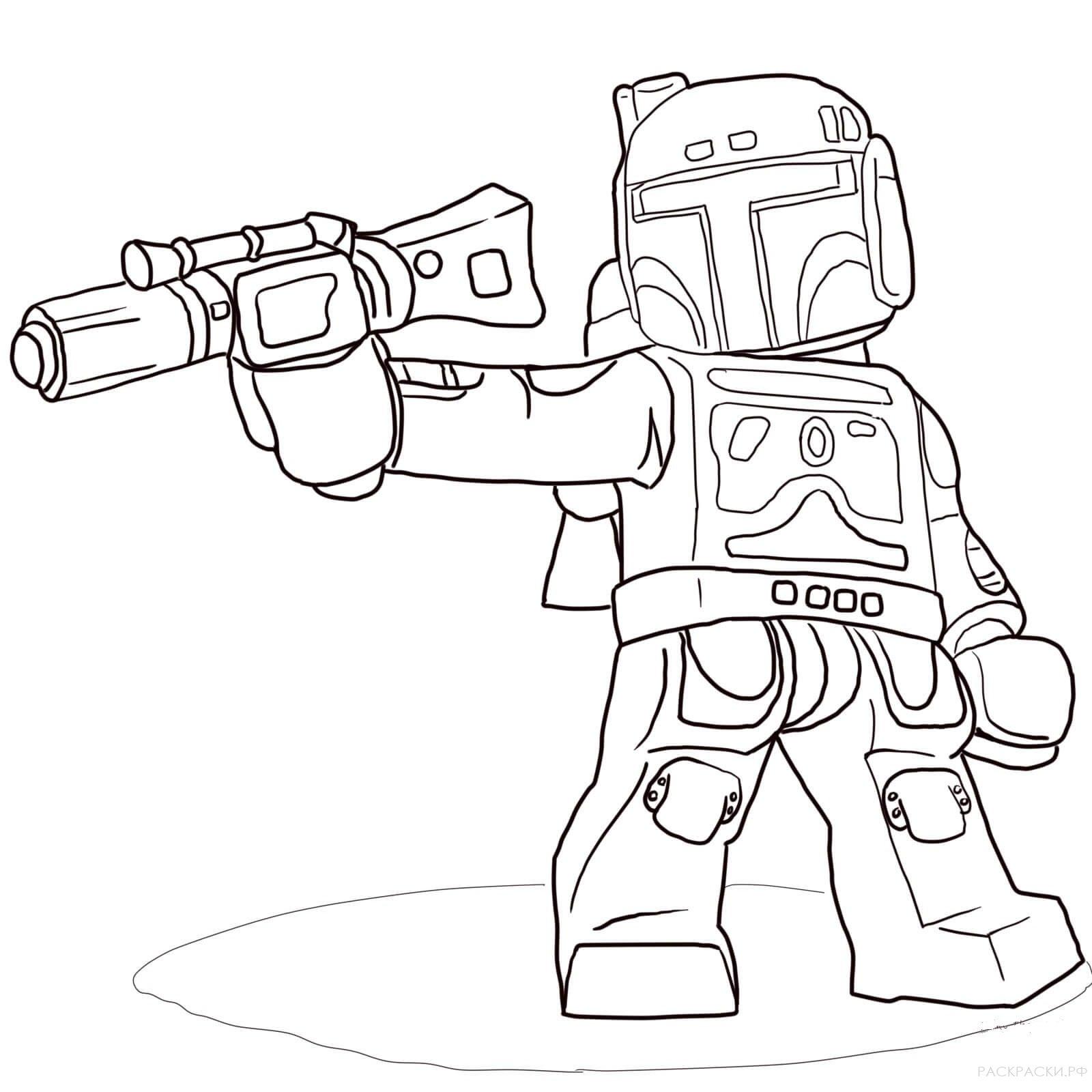 Раскраска Боба Фетт из Лего Звёздные войны