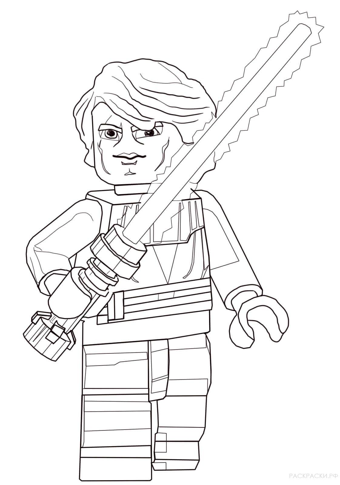 Раскраска Энакин Скайуокер из Лего Звёздные войны