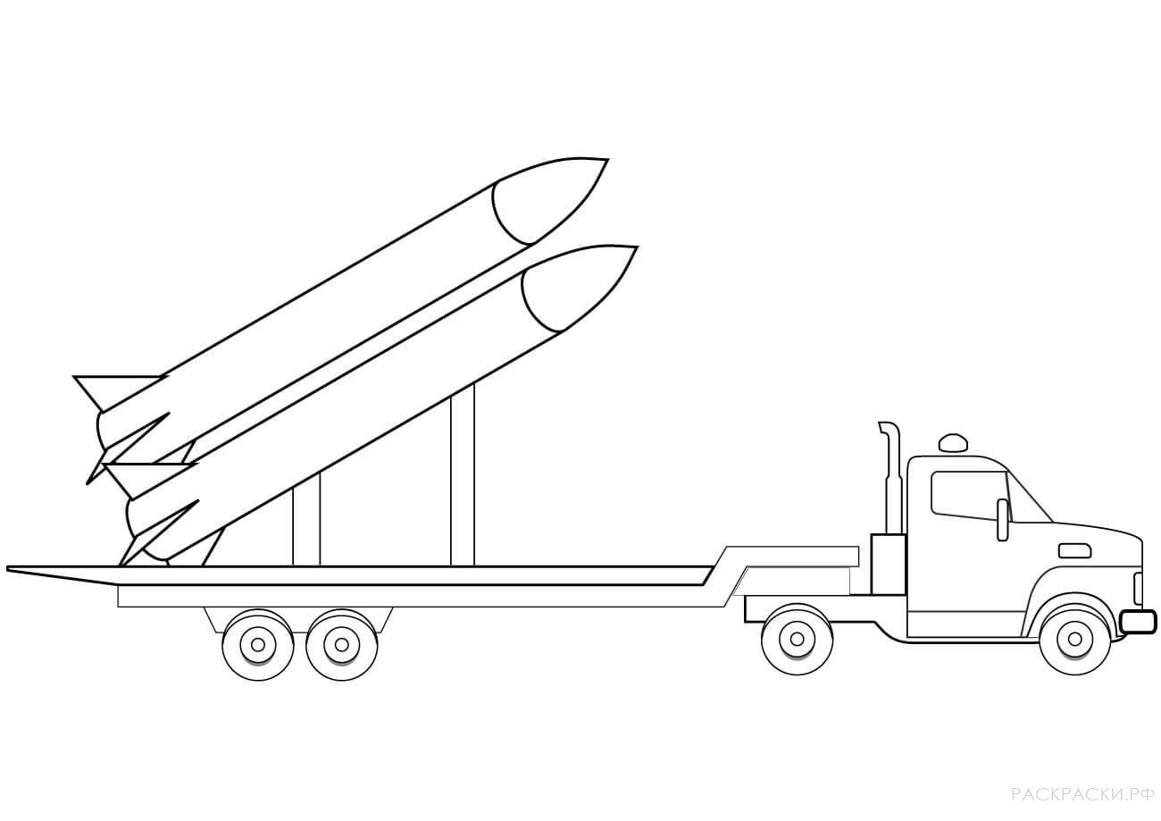 Военная Раскраска Грузовик с ракетами
