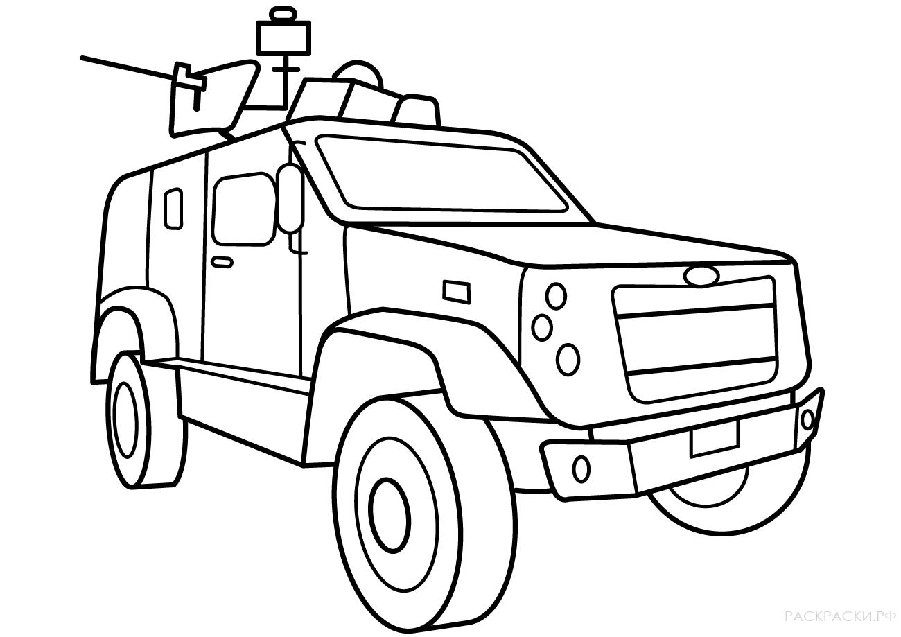 Военная Раскраска Машина спецназа