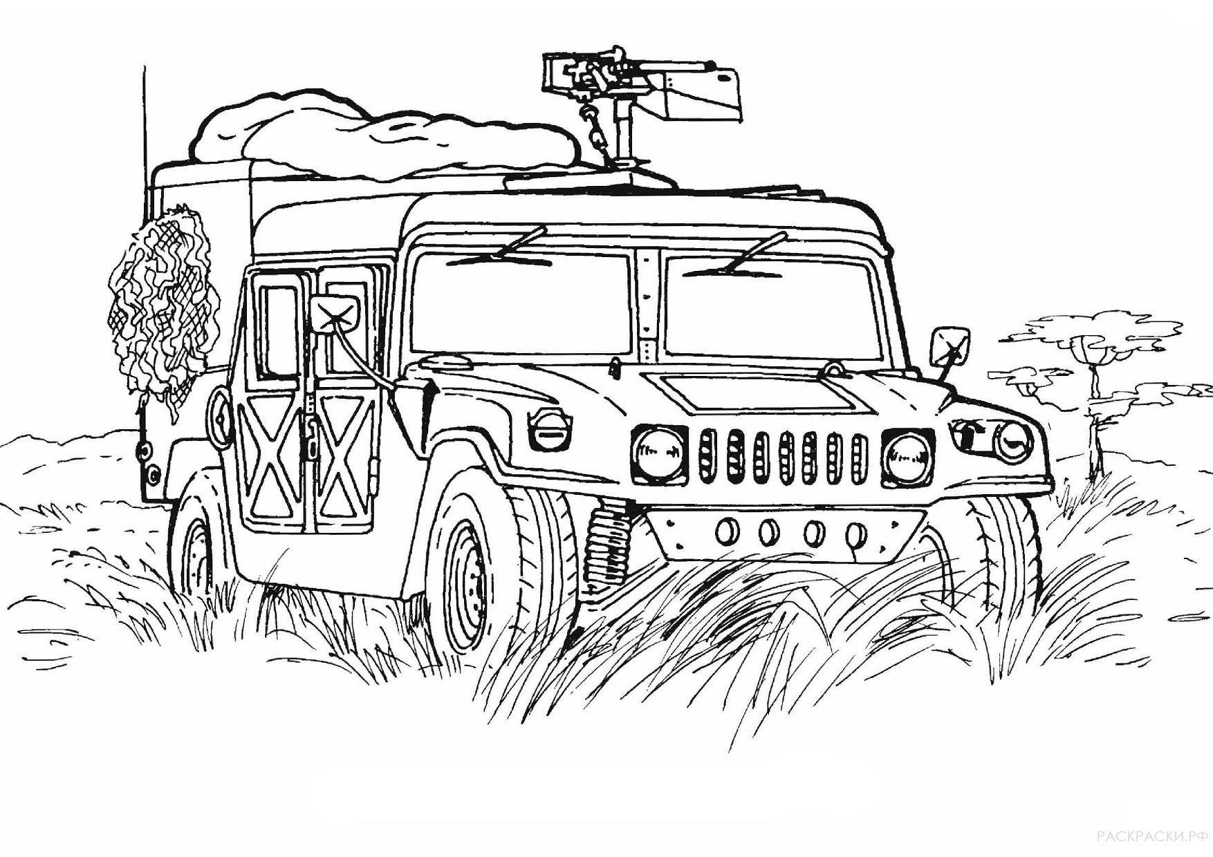 Раскраска военного джипа