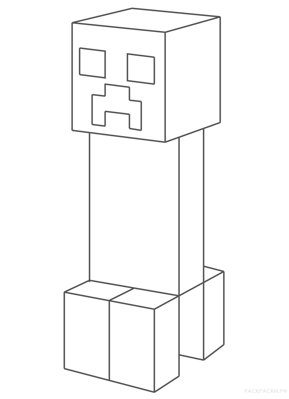 Раскраска Крипер из игры майнкрафт
