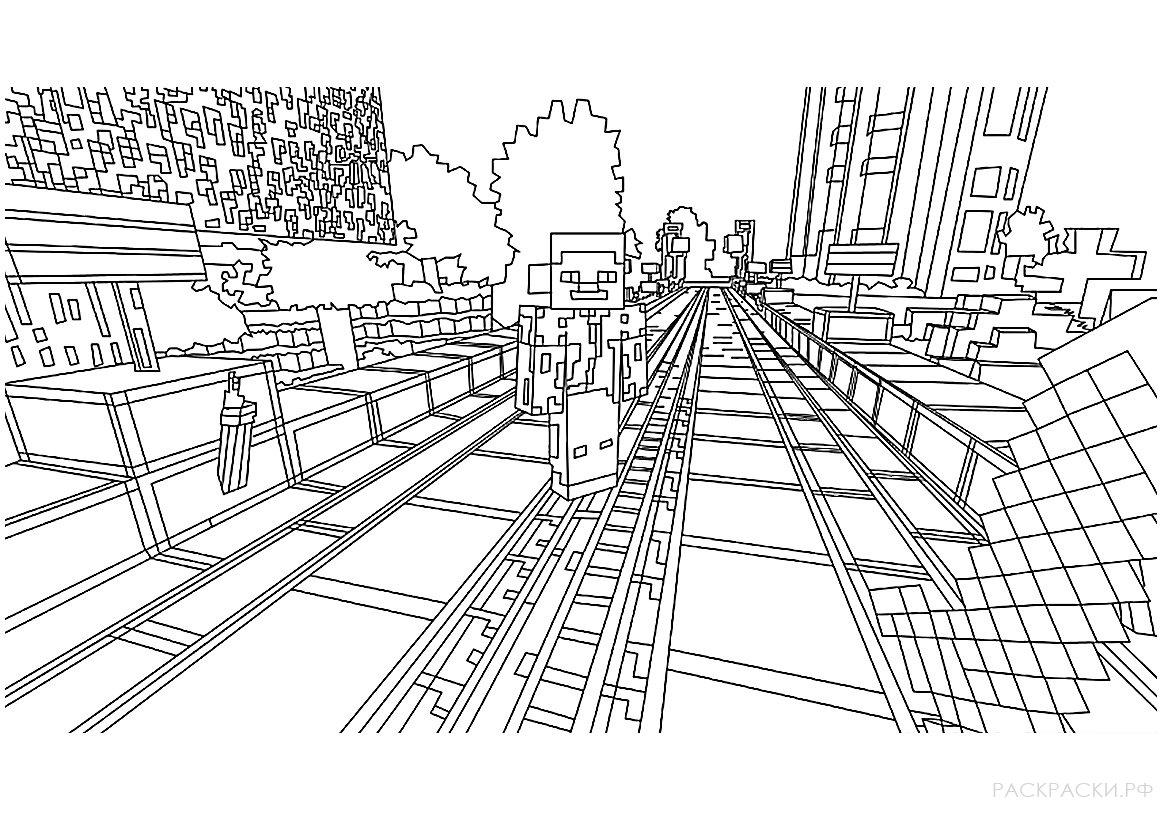 Раскраска Город из майнкрафт » Раскраски.рф - распечатать ...