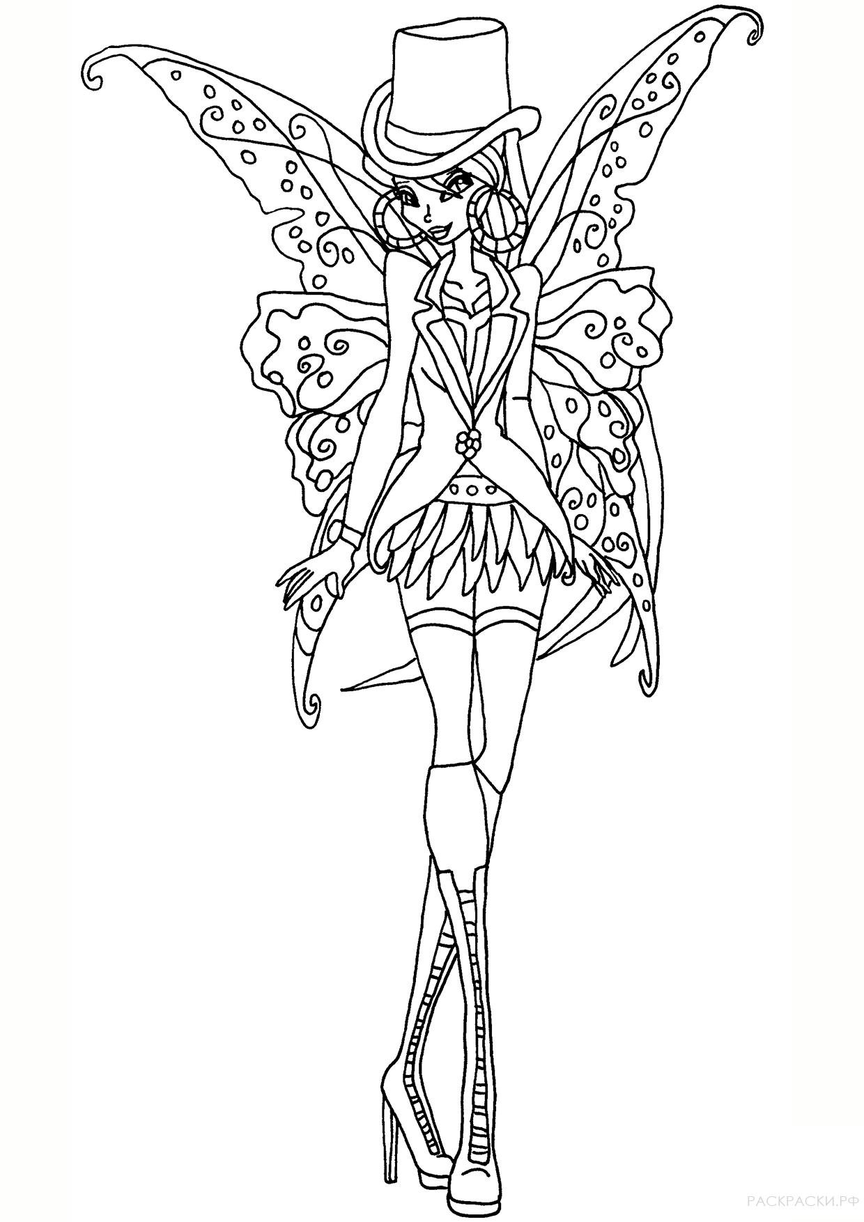 Раскраска Флора в стиле Готик из Клуба Винкс » Раскраски ...