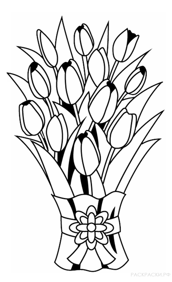 Раскраска Букет тюльпанов