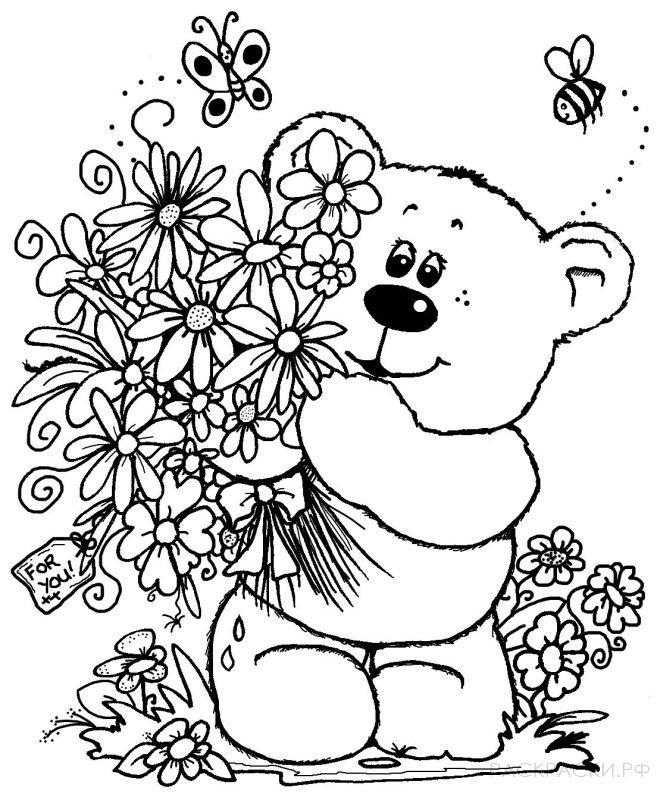 Раскраска Мишка с букетом цветов
