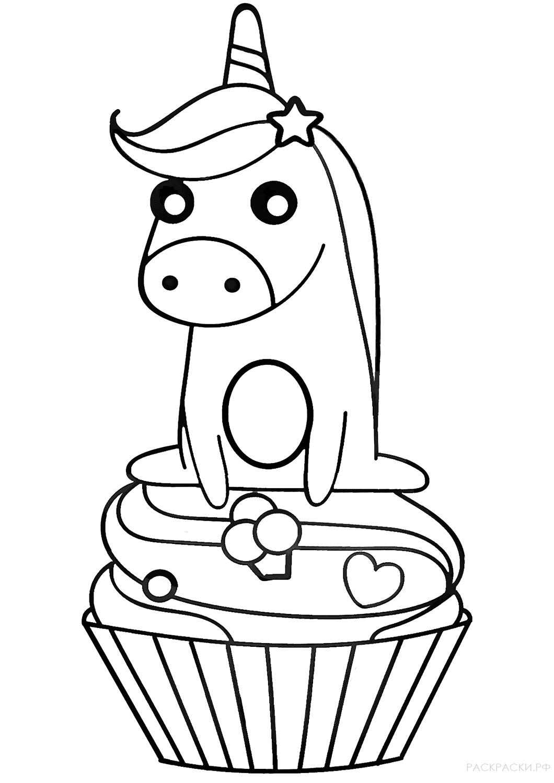 Раскраска Единорог на капкейке » Раскраски.рф ...