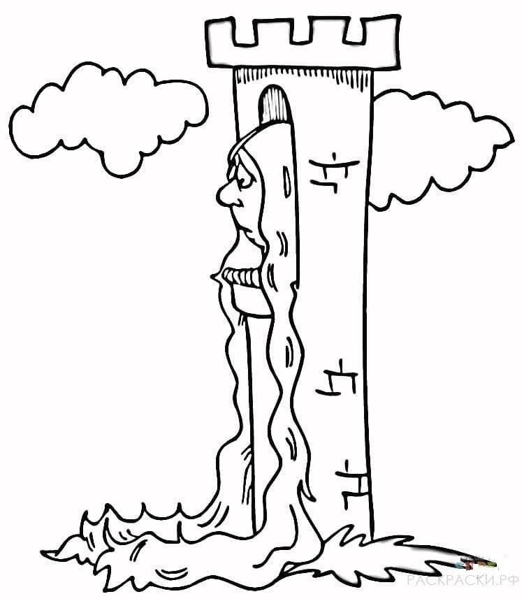 Раскраска Башня Рапунцель » Раскраски.рф - распечатать ...